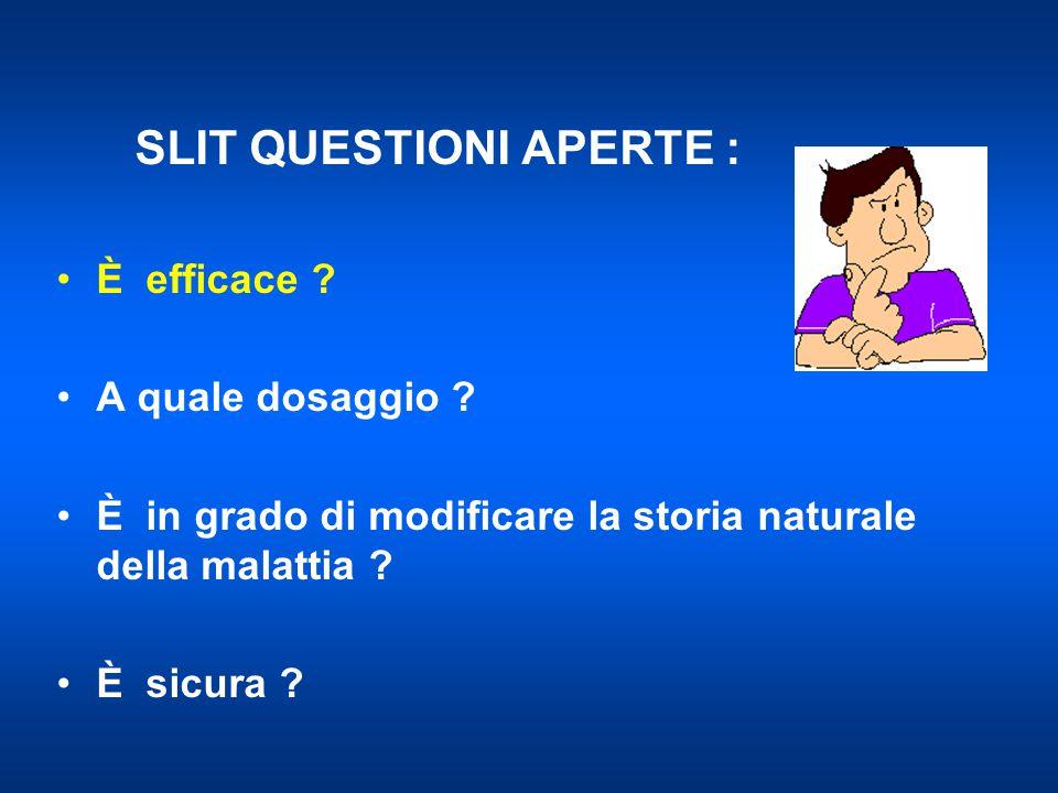 SCITCONTROLLISLITCONTROLLI 37 8 26 18 Sublinguale Novembre et al, JACI 2004 Prevenzione dello sviluppo di asma Dopo 3 anni (sublinguale) Senza asma Con asma