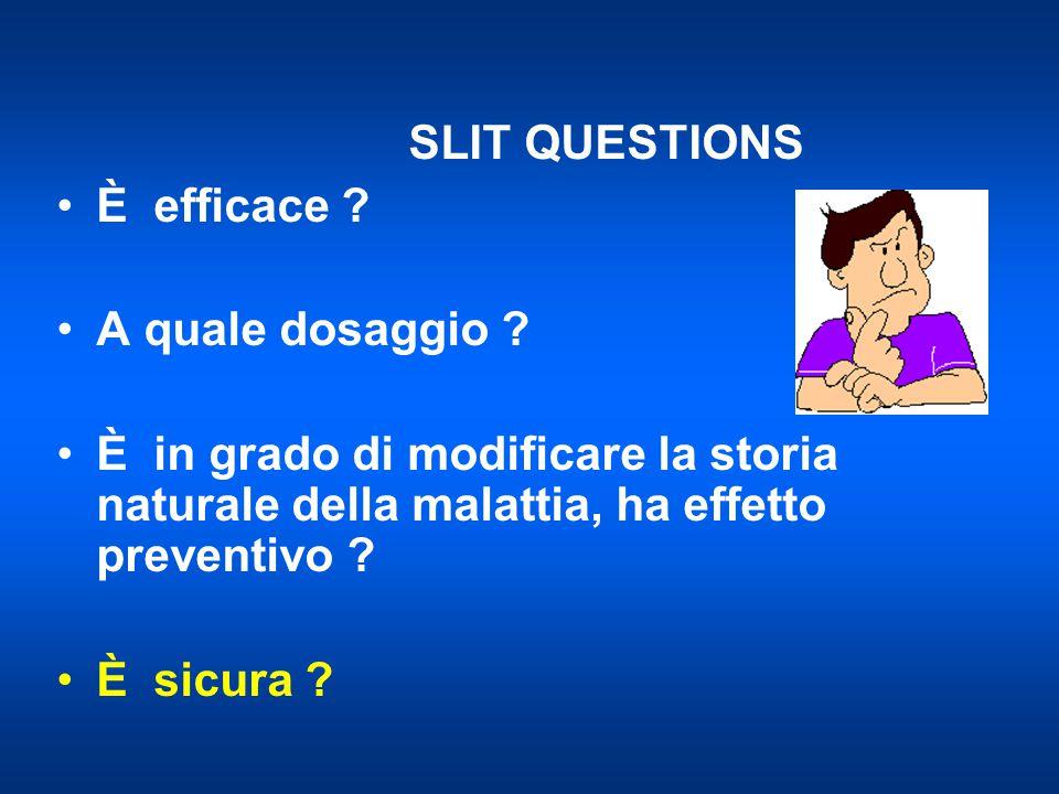 SLIT QUESTIONS È efficace .A quale dosaggio .