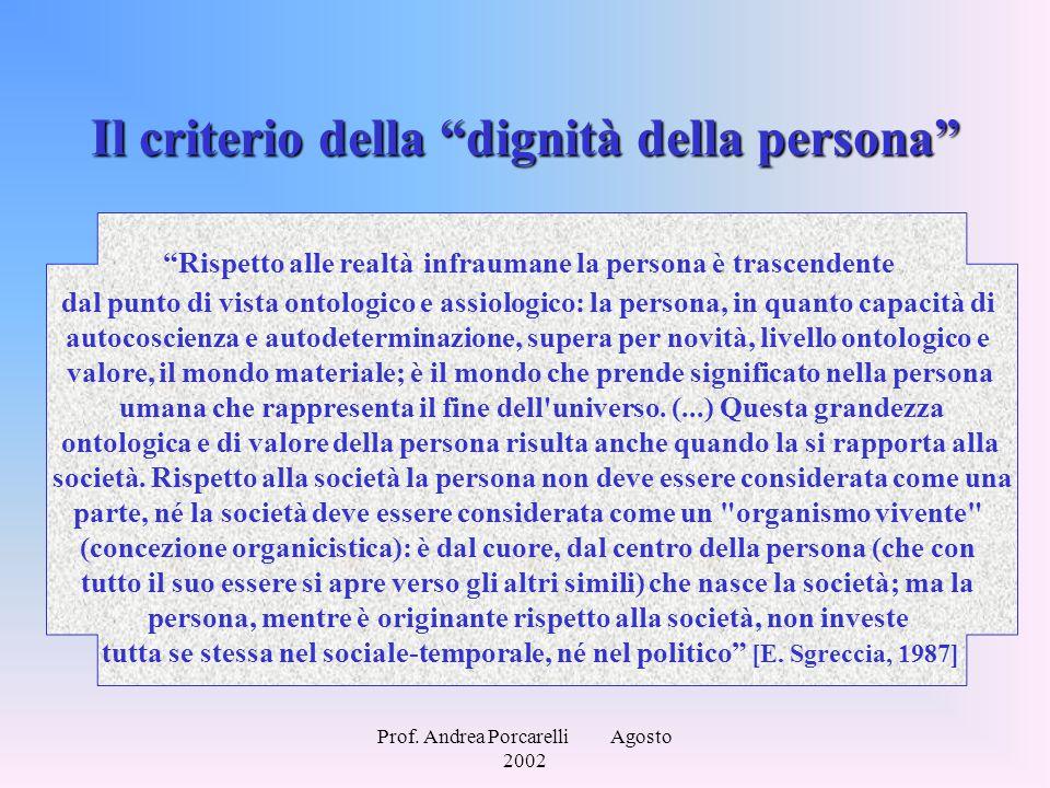 """Prof. Andrea Porcarelli Agosto 2002 Il criterio della """"dignità della persona"""" """"Rispetto alle realtà infraumane la persona è trascendente dal punto di"""
