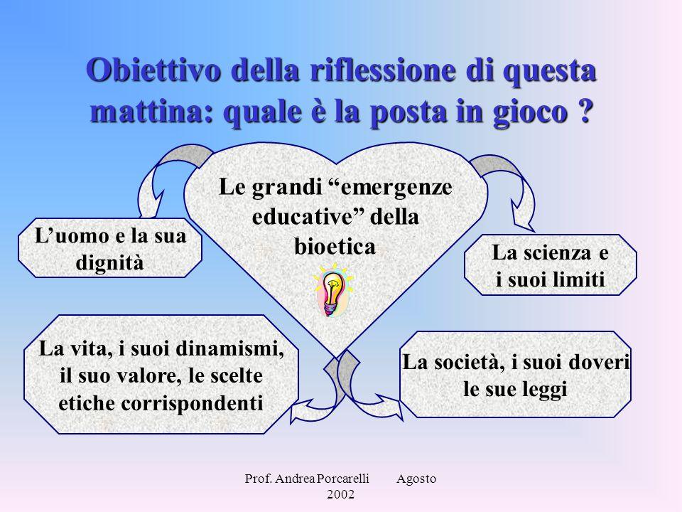 """Prof. Andrea Porcarelli Agosto 2002 Obiettivo della riflessione di questa mattina: quale è la posta in gioco ? Le grandi """"emergenze educative"""" della b"""