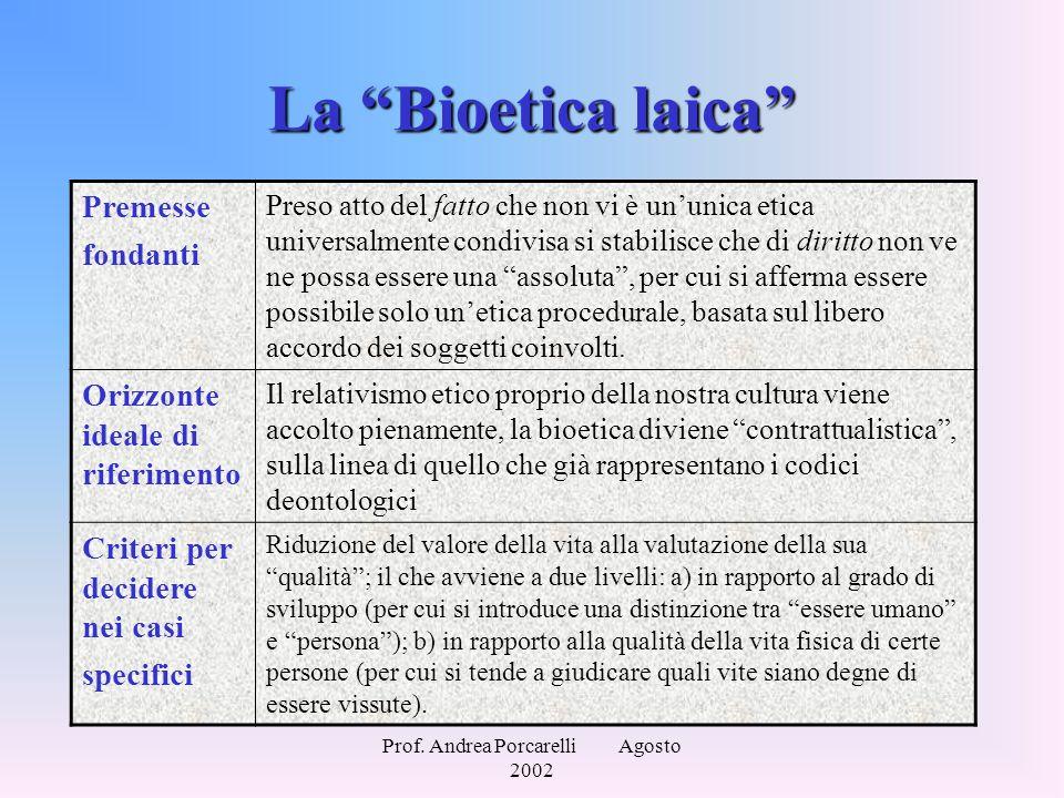 """Prof. Andrea Porcarelli Agosto 2002 La """"Bioetica laica"""" Premesse fondanti Preso atto del fatto che non vi è un'unica etica universalmente condivisa si"""