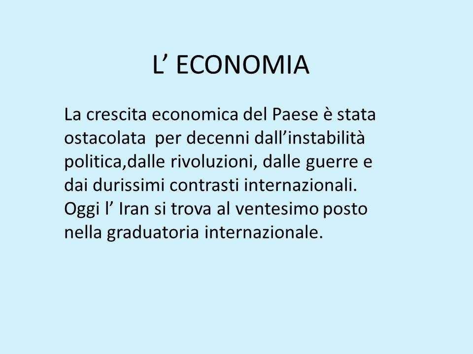 L' ECONOMIA La crescita economica del Paese è stata ostacolata per decenni dall'instabilità politica,dalle rivoluzioni, dalle guerre e dai durissimi c