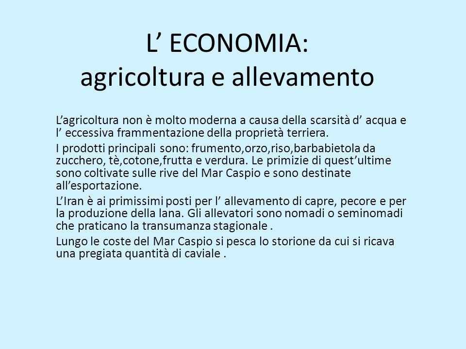 L' ECONOMIA: agricoltura e allevamento L'agricoltura non è molto moderna a causa della scarsità d' acqua e l' eccessiva frammentazione della proprietà