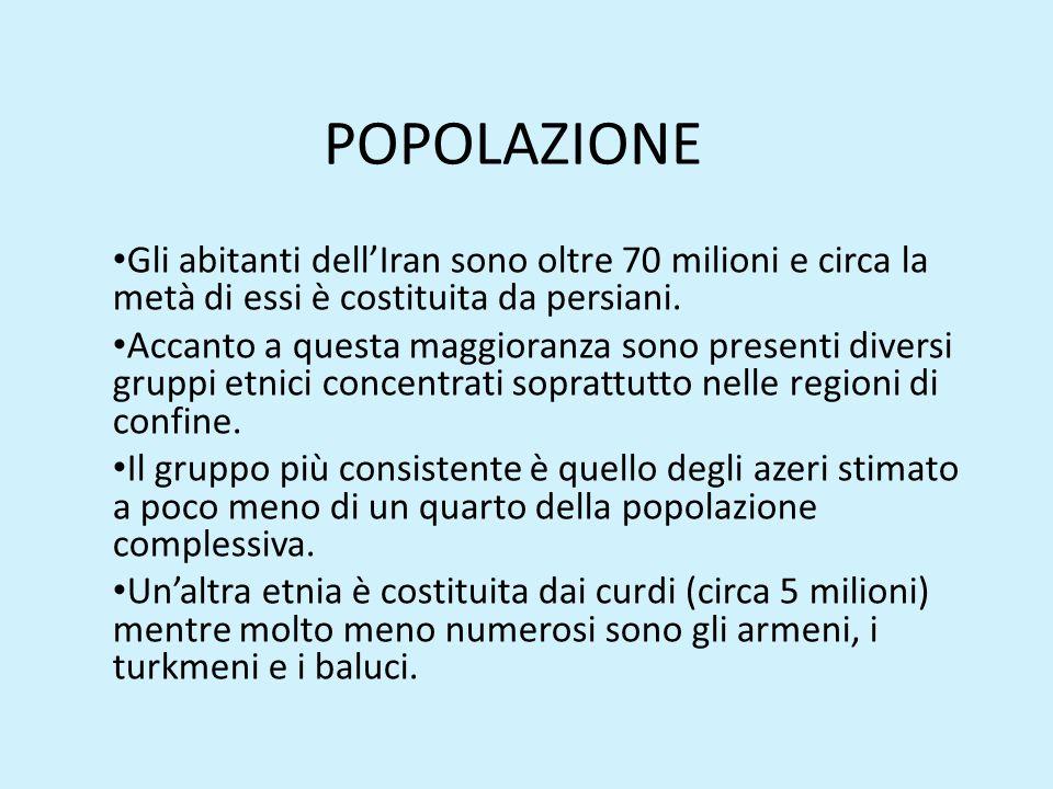 POPOLAZIONE Gli abitanti dell'Iran sono oltre 70 milioni e circa la metà di essi è costituita da persiani. Accanto a questa maggioranza sono presenti