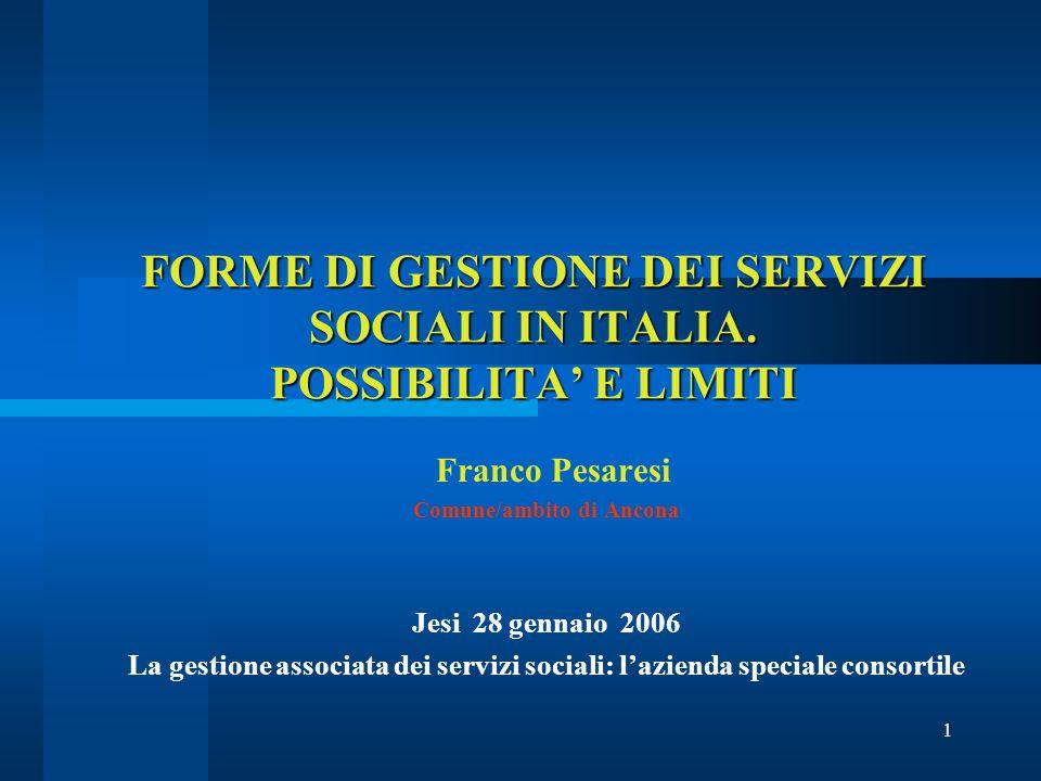 1 FORME DI GESTIONE DEI SERVIZI SOCIALI IN ITALIA.