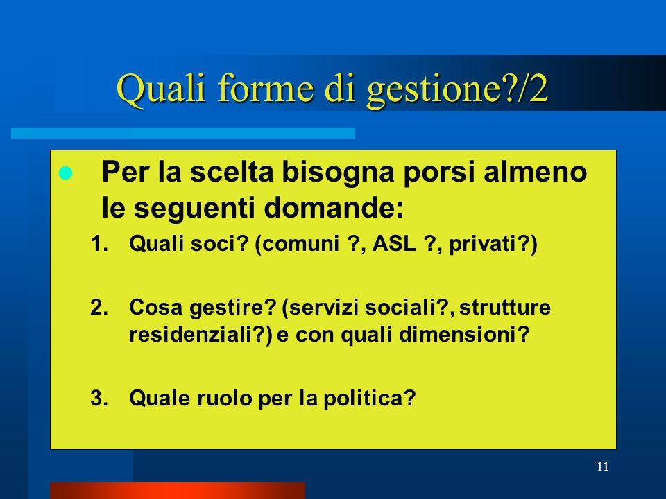 11 Quali forme di gestione /2 Per la scelta bisogna porsi almeno le seguenti domande: 1.Quali soci.