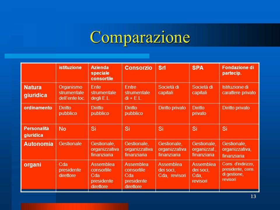 13 Comparazione istituzioneAzienda speciale consortile ConsorzioSrlSPA Fondazione di partecip.