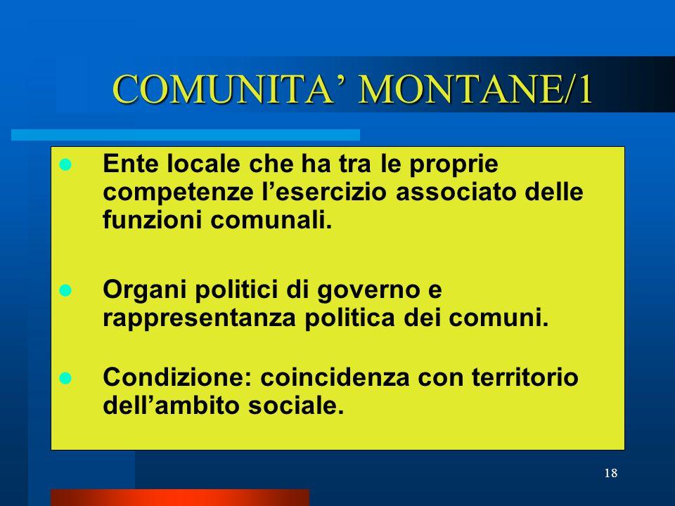 18 COMUNITA' MONTANE/1 Ente locale che ha tra le proprie competenze l'esercizio associato delle funzioni comunali.