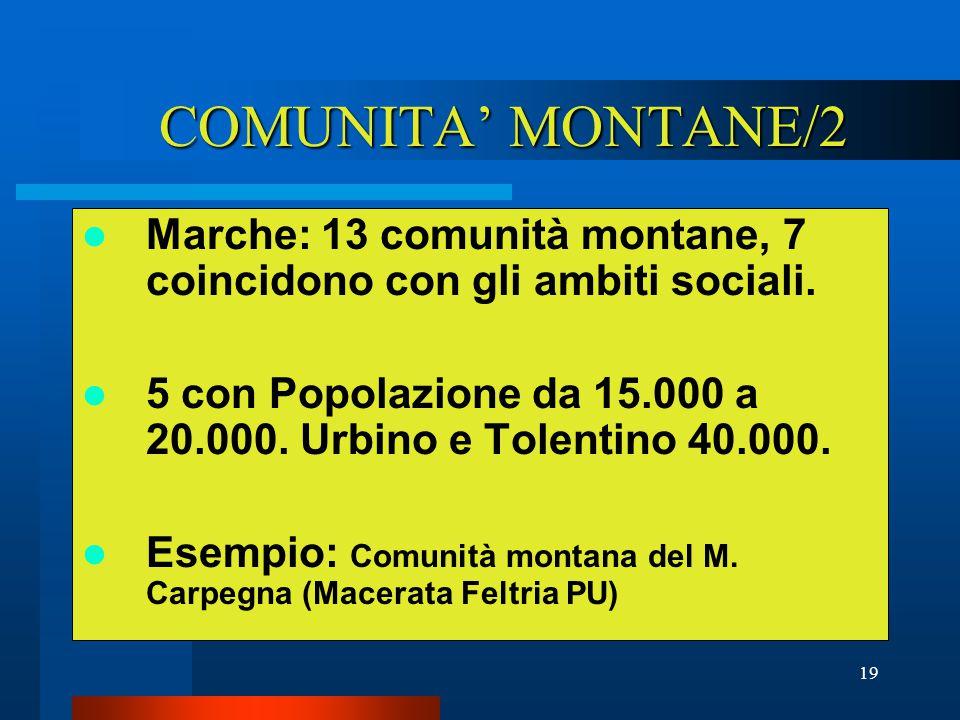 19 COMUNITA' MONTANE/2 Marche: 13 comunità montane, 7 coincidono con gli ambiti sociali.