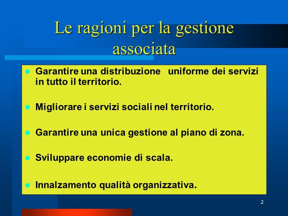 2 Le ragioni per la gestione associata Garantire una distribuzione uniforme dei servizi in tutto il territorio.
