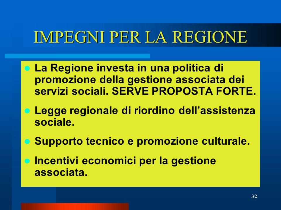 32 IMPEGNI PER LA REGIONE La Regione investa in una politica di promozione della gestione associata dei servizi sociali.