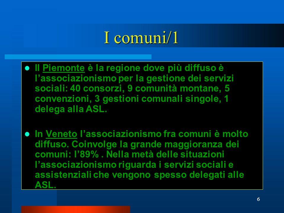 6 I comuni/1 Il Piemonte è la regione dove più diffuso è l'associazionismo per la gestione dei servizi sociali: 40 consorzi, 9 comunità montane, 5 convenzioni, 3 gestioni comunali singole, 1 delega alla ASL.