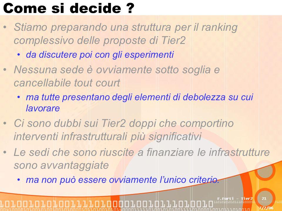 7/2/06 F.Forti - Tier221 Come si decide .