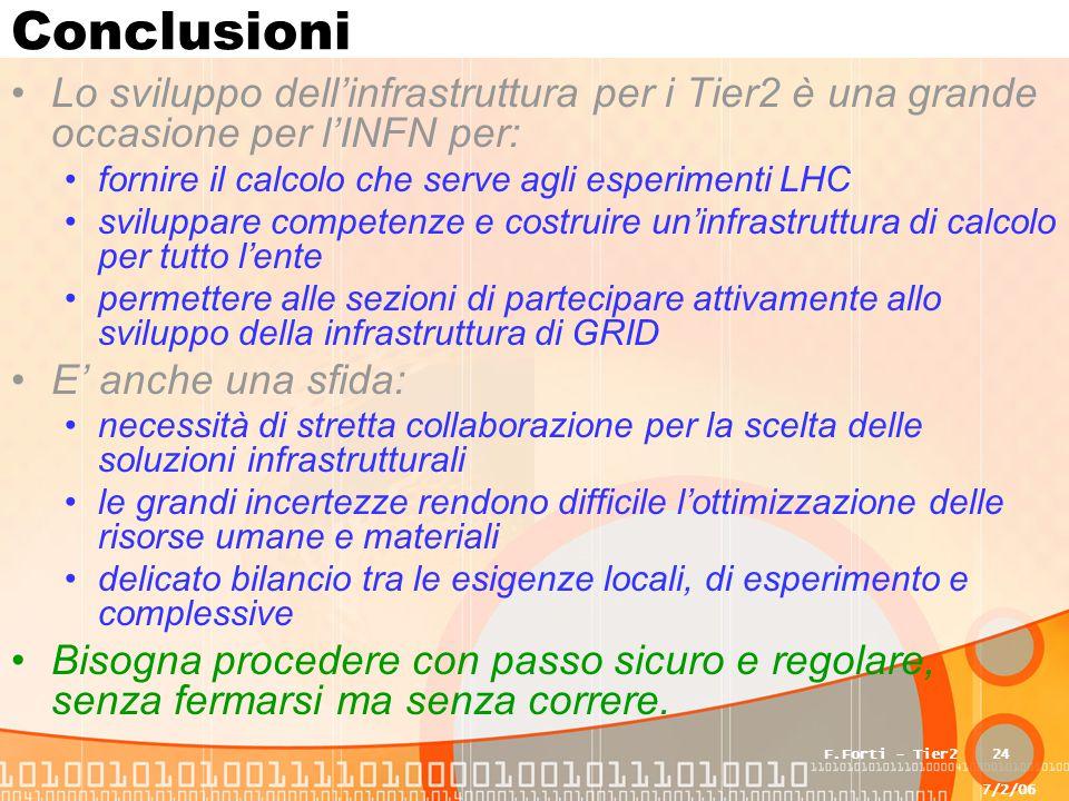 7/2/06 F.Forti - Tier224 Conclusioni Lo sviluppo dell'infrastruttura per i Tier2 è una grande occasione per l'INFN per: fornire il calcolo che serve agli esperimenti LHC sviluppare competenze e costruire un'infrastruttura di calcolo per tutto l'ente permettere alle sezioni di partecipare attivamente allo sviluppo della infrastruttura di GRID E' anche una sfida: necessità di stretta collaborazione per la scelta delle soluzioni infrastrutturali le grandi incertezze rendono difficile l'ottimizzazione delle risorse umane e materiali delicato bilancio tra le esigenze locali, di esperimento e complessive Bisogna procedere con passo sicuro e regolare, senza fermarsi ma senza correre.