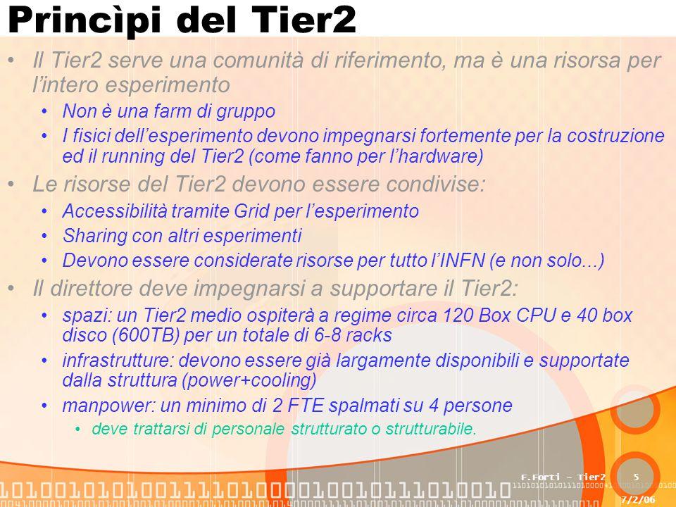 7/2/06 F.Forti - Tier25 Princìpi del Tier2 Il Tier2 serve una comunità di riferimento, ma è una risorsa per l'intero esperimento Non è una farm di gruppo I fisici dell'esperimento devono impegnarsi fortemente per la costruzione ed il running del Tier2 (come fanno per l'hardware) Le risorse del Tier2 devono essere condivise: Accessibilità tramite Grid per l'esperimento Sharing con altri esperimenti Devono essere considerate risorse per tutto l'INFN (e non solo...) Il direttore deve impegnarsi a supportare il Tier2: spazi: un Tier2 medio ospiterà a regime circa 120 Box CPU e 40 box disco (600TB) per un totale di 6-8 racks infrastrutture: devono essere già largamente disponibili e supportate dalla struttura (power+cooling) manpower: un minimo di 2 FTE spalmati su 4 persone deve trattarsi di personale strutturato o strutturabile.