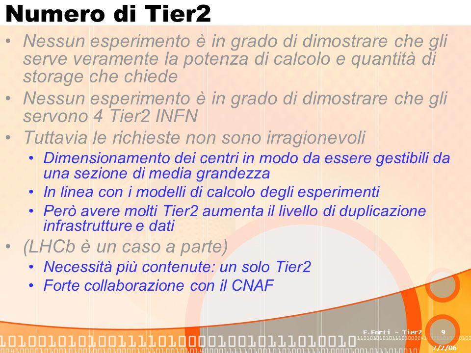 7/2/06 F.Forti - Tier29 Numero di Tier2 Nessun esperimento è in grado di dimostrare che gli serve veramente la potenza di calcolo e quantità di storage che chiede Nessun esperimento è in grado di dimostrare che gli servono 4 Tier2 INFN Tuttavia le richieste non sono irragionevoli Dimensionamento dei centri in modo da essere gestibili da una sezione di media grandezza In linea con i modelli di calcolo degli esperimenti Però avere molti Tier2 aumenta il livello di duplicazione infrastrutture e dati (LHCb è un caso a parte) Necessità più contenute: un solo Tier2 Forte collaborazione con il CNAF