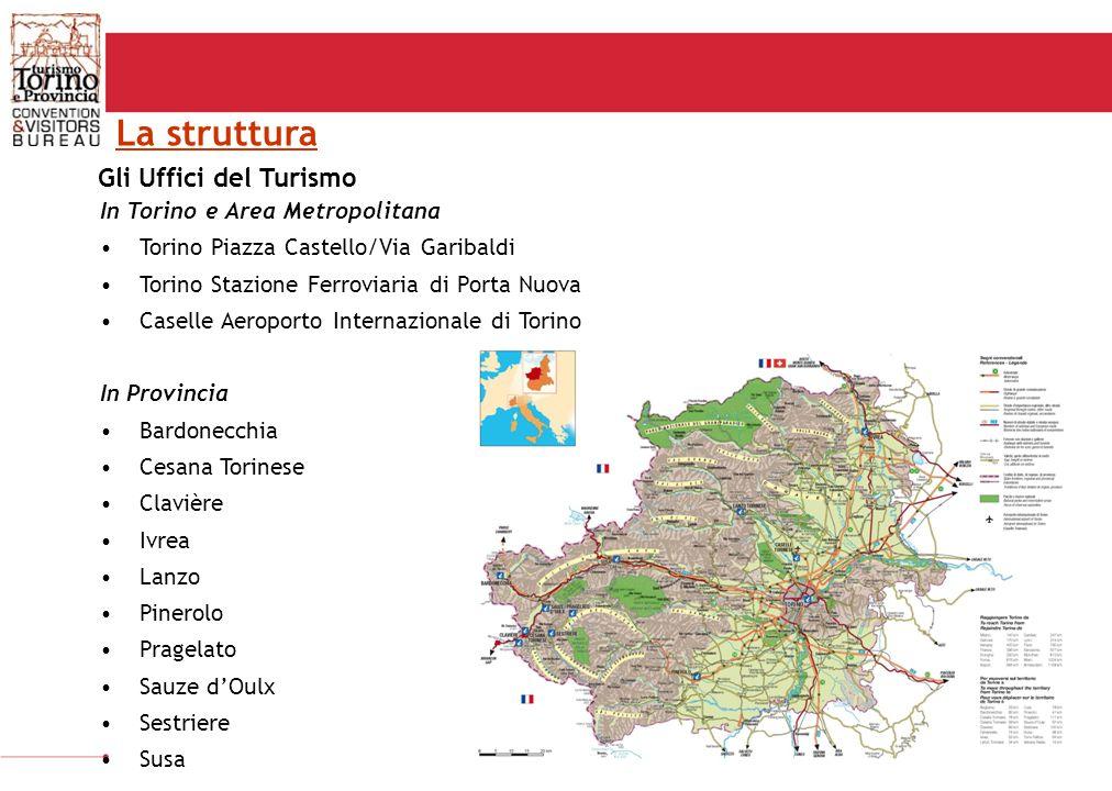 Gli Uffici del Turismo 13 uffici del turismo in Torino e provincia 3 uffici del turismo a Torino aperti da: 09.00-19.00; 08.00-20.00 (APT) Servizio call center 09.00-19.00 10/12 informatori presenti tutti i giorni dell'anno Tra le attività di back office: –Servizio prenotazione guide turistiche –Servizio prenotazioni strutture ricettive –Servizio Benvenuto (predisposizione materiale illustrativo) –Servizi Vendita = bookshop& merchandising + biglietteria trasporti –Circuito vendita Torino+Piemonte Card e Shop-on-line Uff.