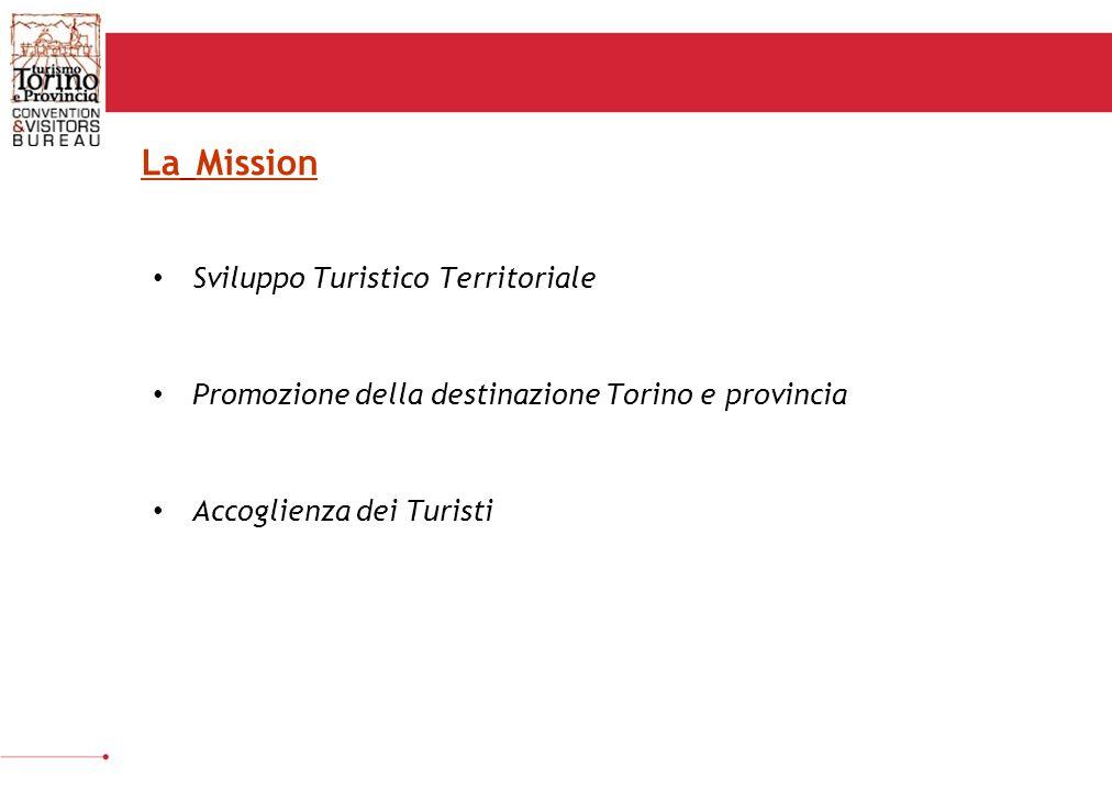 QUANTITATIVI Incrementare il numero di arrivi di Torino e provincia; Prolungare la permanenza media dei turisti; Aumentare la spesa turistica e il giro d'affari; Sviluppare e diversificare i flussi turistici per tutto l'anno; QUALITATIVI Migliorare la ripartizione dei flussi turistici sull'intero territorio di Torino e Provincia; Sviluppare la notorietà della destinazione Torino e Provincia Posizionare Torino e provincia sui mercati valorizzando la sua nuova immagine e la qualità dell'offerta e dei servizi Mettere in atto un sistema di accoglienza efficace e professionale Obiettivi