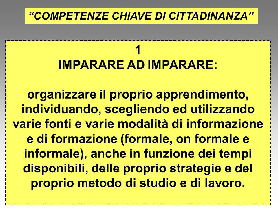 """""""COMPETENZE CHIAVE DI CITTADINANZA"""" 1 IMPARARE AD IMPARARE: organizzare il proprio apprendimento, individuando, scegliendo ed utilizzando varie fonti"""