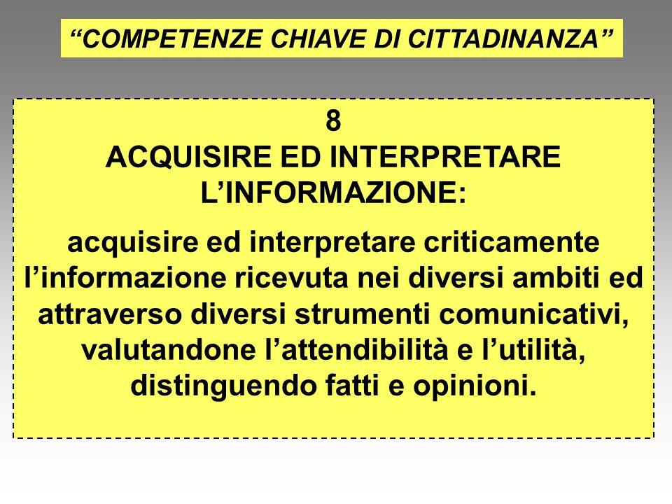 """""""COMPETENZE CHIAVE DI CITTADINANZA"""" 8 ACQUISIRE ED INTERPRETARE L'INFORMAZIONE: acquisire ed interpretare criticamente l'informazione ricevuta nei div"""
