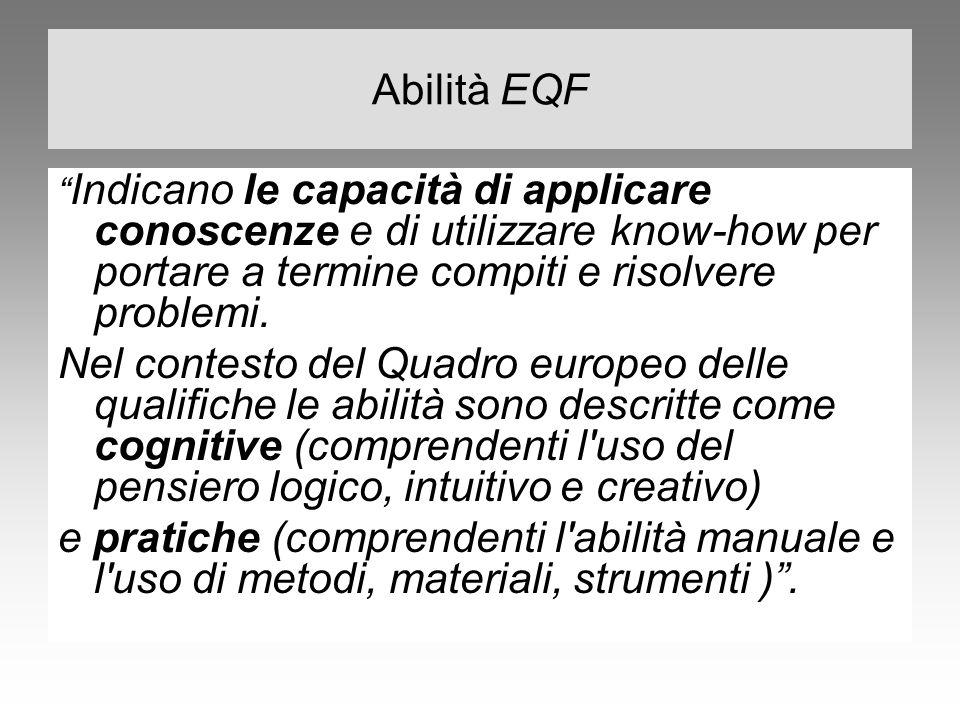"""Abilità EQF """" Indicano le capacità di applicare conoscenze e di utilizzare know-how per portare a termine compiti e risolvere problemi. Nel contesto d"""
