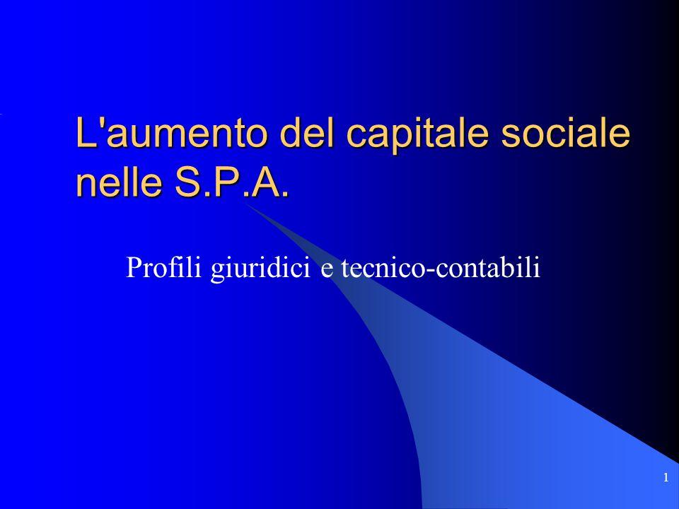1 L aumento del capitale sociale nelle S.P.A. Profili giuridici e tecnico-contabili