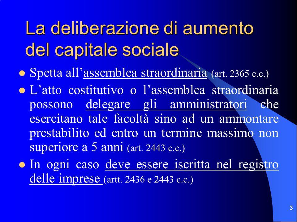 3 La deliberazione di aumento del capitale sociale Spetta all'assemblea straordinaria (art.