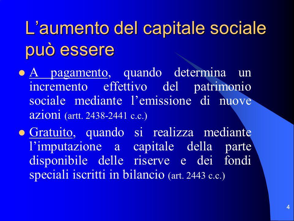 4 L'aumento del capitale sociale può essere A pagamento, quando determina un incremento effettivo del patrimonio sociale mediante l'emissione di nuove azioni (artt.