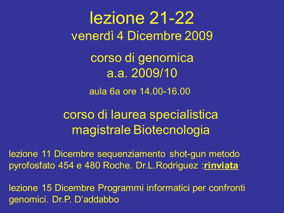 corso di laurea specialistica magistrale Biotecnologia aula 6a ore 14.00-16.00 corso di genomica a.a. 2009/10 lezione 11 Dicembre sequenziamento shot-