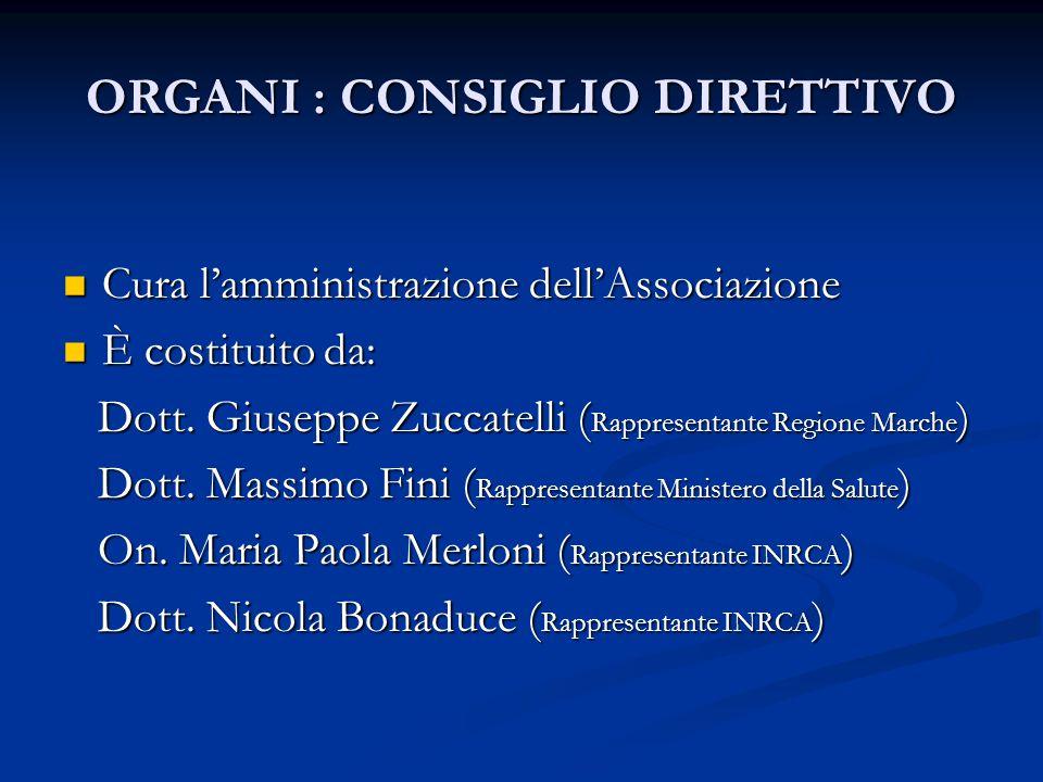 ORGANI: PRESIDENTE Prof. Roberto Bernabei ( Rappresenta l'Associazione ) Prof.