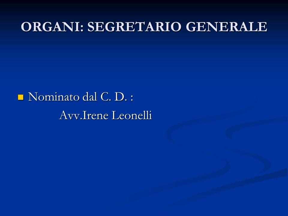 ORGANI : CONSIGLIO DIRETTIVO Cura l'amministrazione dell'Associazione Cura l'amministrazione dell'Associazione È costituito da: È costituito da: Dott.