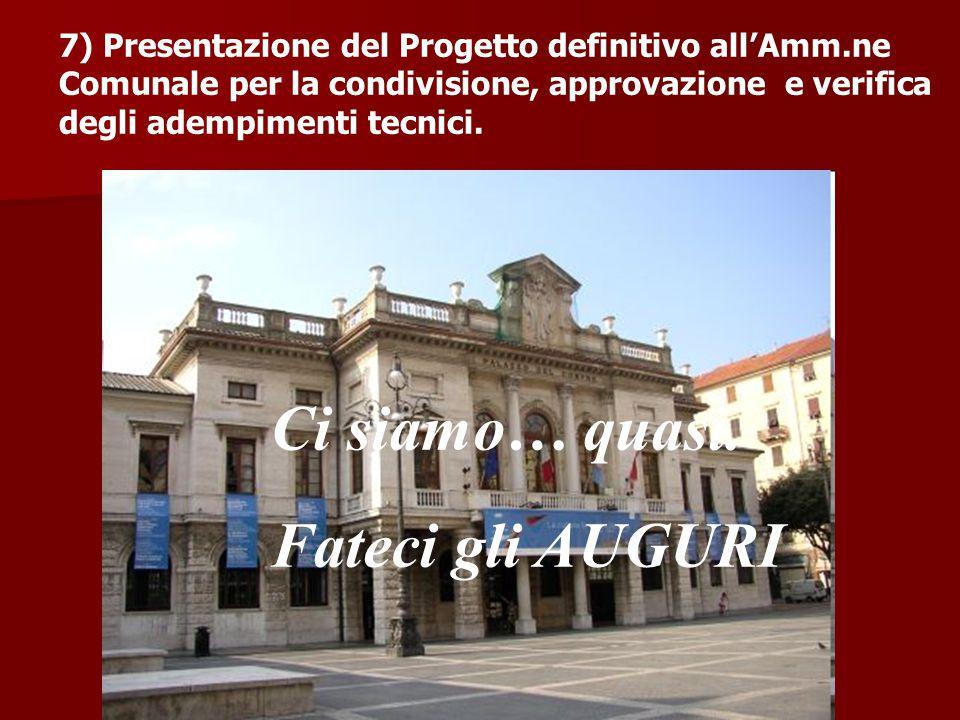 7) Presentazione del Progetto definitivo all'Amm.ne Comunale per la condivisione, approvazione e verifica degli adempimenti tecnici.