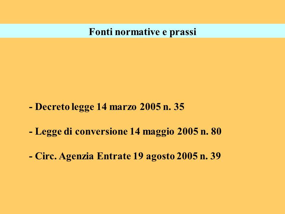 Fonti normative e prassi - Decreto legge 14 marzo 2005 n. 35 - Legge di conversione 14 maggio 2005 n. 80 - Circ. Agenzia Entrate 19 agosto 2005 n. 39