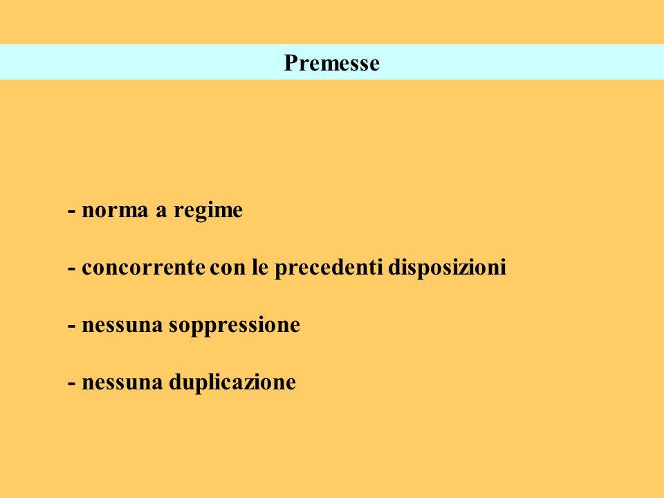 Premesse - norma a regime - concorrente con le precedenti disposizioni - nessuna soppressione - nessuna duplicazione