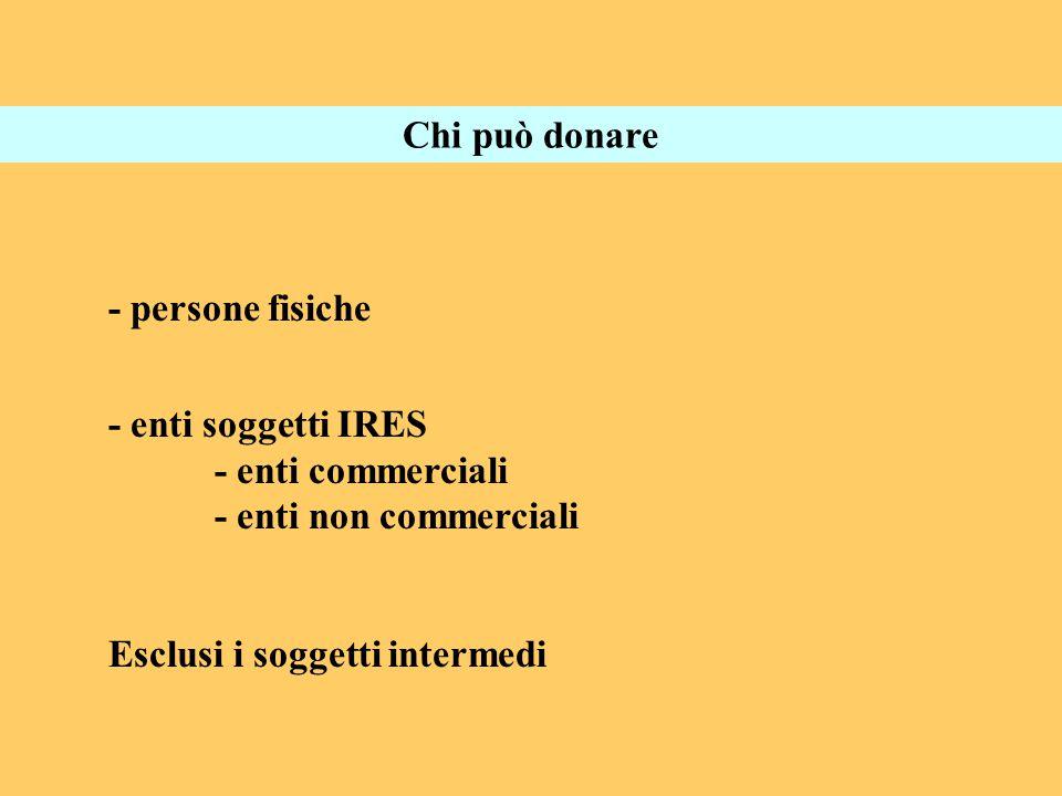 Chi può donare - persone fisiche - enti soggetti IRES - enti commerciali - enti non commerciali Esclusi i soggetti intermedi