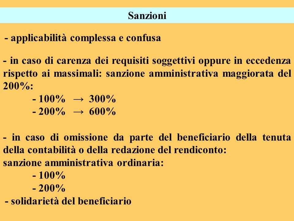 Sanzioni - applicabilità complessa e confusa - in caso di carenza dei requisiti soggettivi oppure in eccedenza rispetto ai massimali: sanzione amminis