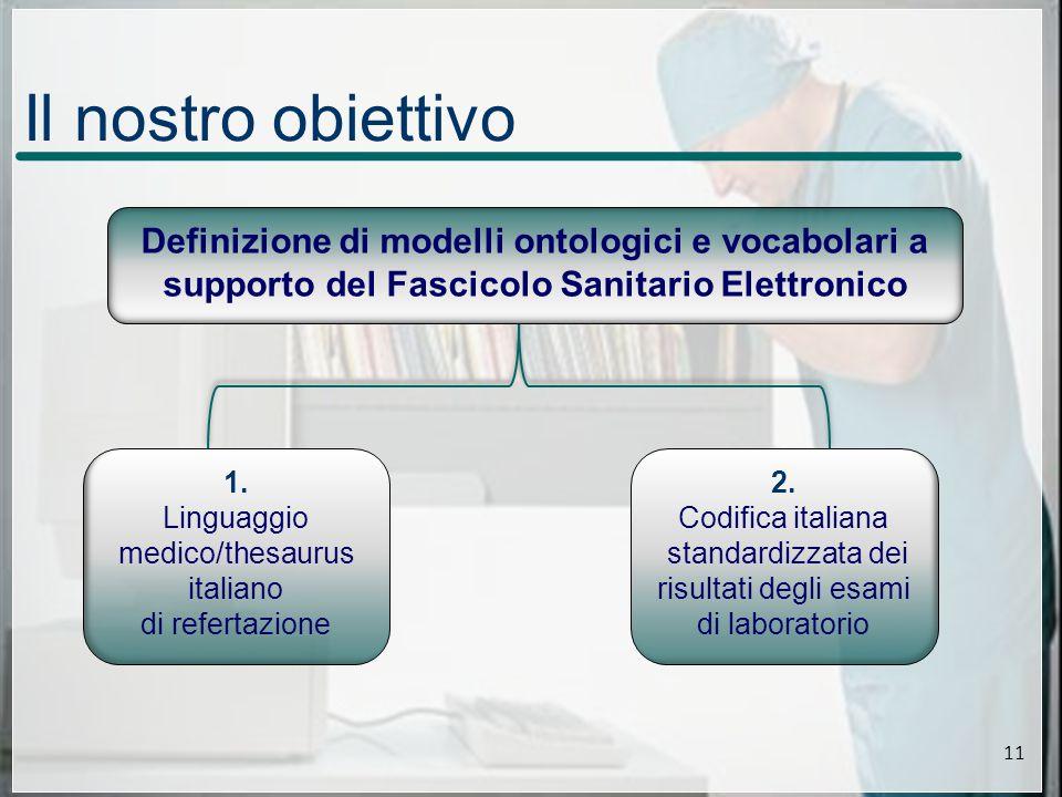 Il nostro obiettivo 1. Linguaggio medico/thesaurus italiano di refertazione 2.
