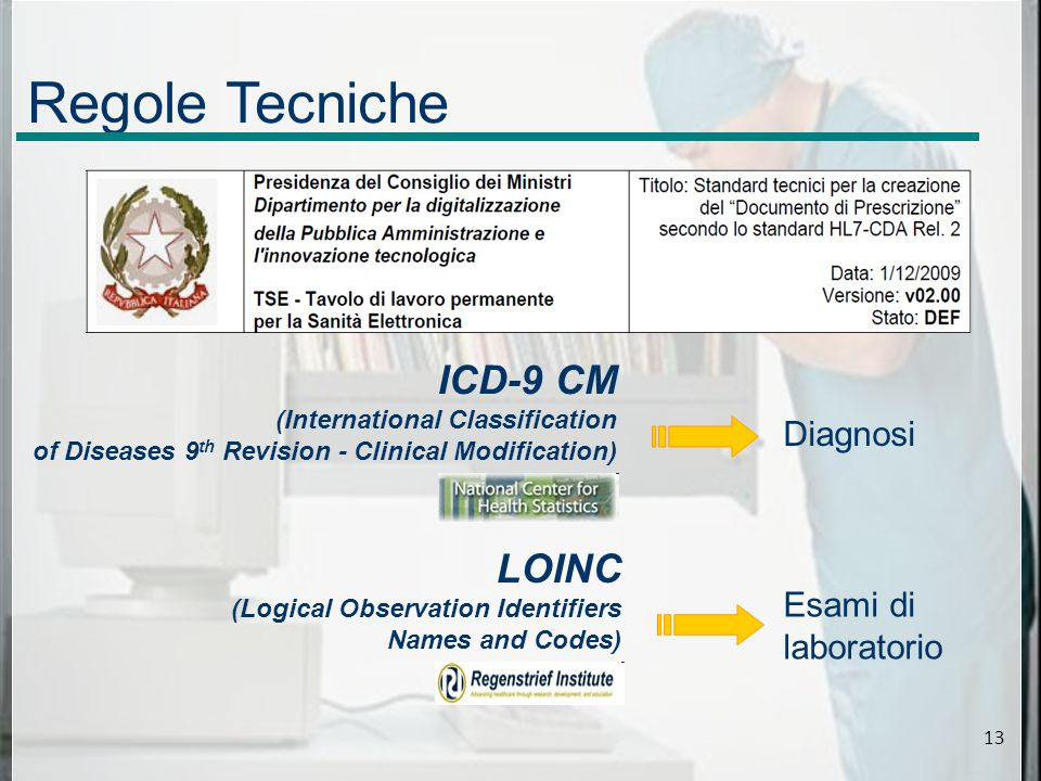 Regole Tecniche ICD-9 CM (International Classification of Diseases 9 th Revision - Clinical Modification) LOINC (Logical Observation Identifiers Names