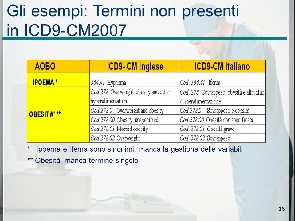 Gli esempi: Termini non presenti in ICD9-CM2007 * Ipoema e Ifema sono sinonimi, manca la gestione delle variabili ** Obesità, manca termine singolo 16