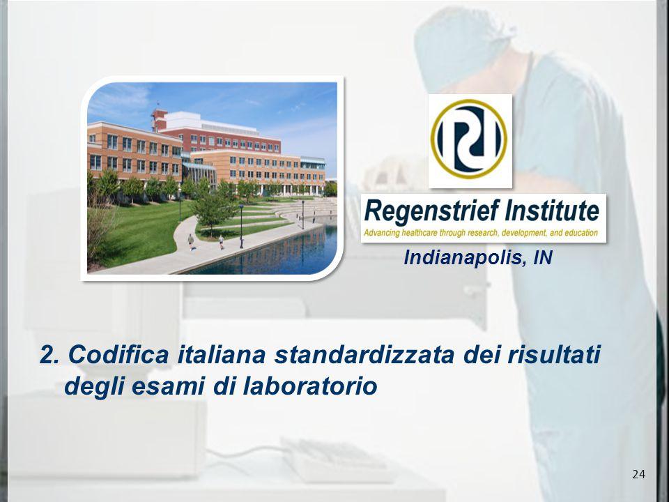 2. Codifica italiana standardizzata dei risultati degli esami di laboratorio Indianapolis, IN 24