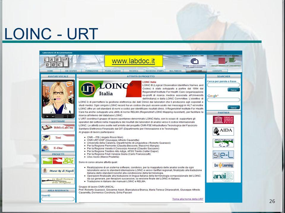LOINC - URT 26 www.labdoc.it