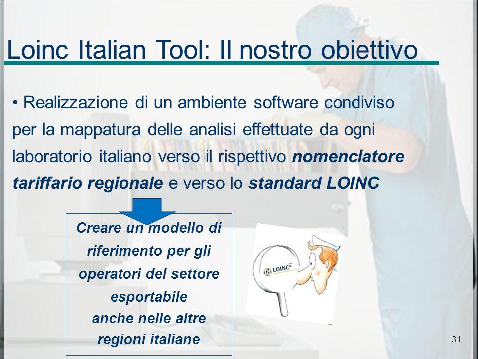Loinc Italian Tool: Il nostro obiettivo Realizzazione di un ambiente software condiviso per la mappatura delle analisi effettuate da ogni laboratorio italiano verso il rispettivo nomenclatore tariffario regionale e verso lo standard LOINC Creare un modello di riferimento per gli operatori del settore esportabile anche nelle altre regioni italiane 31