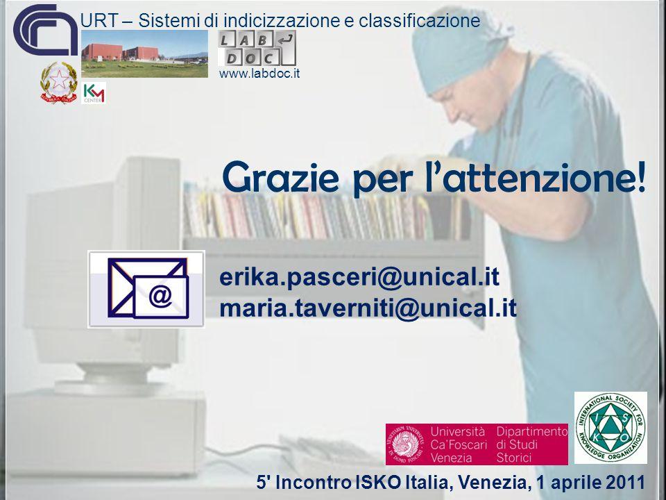 Grazie per l'attenzione! www.labdoc.it erika.pasceri@unical.it maria.taverniti@unical.it 5' Incontro ISKO Italia, Venezia, 1 aprile 2011 URT – Sistemi