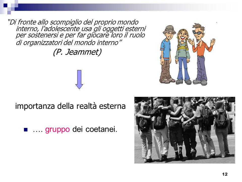 12 importanza della realtà esterna ….gruppo dei coetanei.