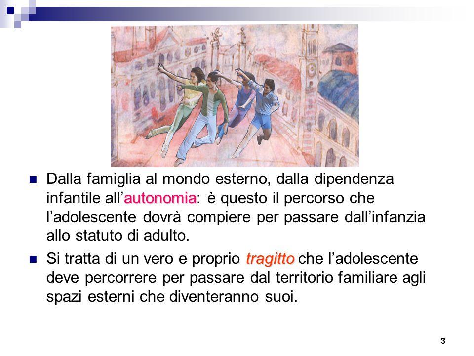 3 autonomia Dalla famiglia al mondo esterno, dalla dipendenza infantile all'autonomia: è questo il percorso che l'adolescente dovrà compiere per passare dall'infanzia allo statuto di adulto.