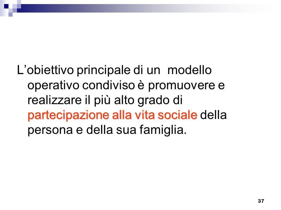 37 partecipazione alla vita sociale L'obiettivo principale di un modello operativo condiviso è promuovere e realizzare il più alto grado di partecipazione alla vita sociale della persona e della sua famiglia.