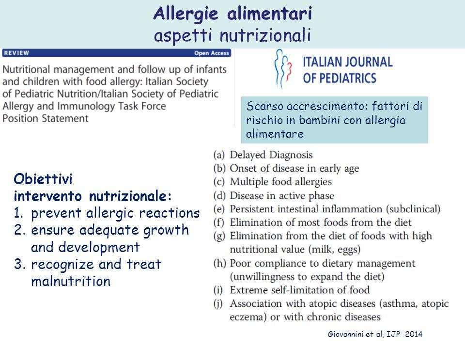 Scarso accrescimento: fattori di rischio in bambini con allergia alimentare Obiettivi intervento nutrizionale: 1.prevent allergic reactions 2.ensure a