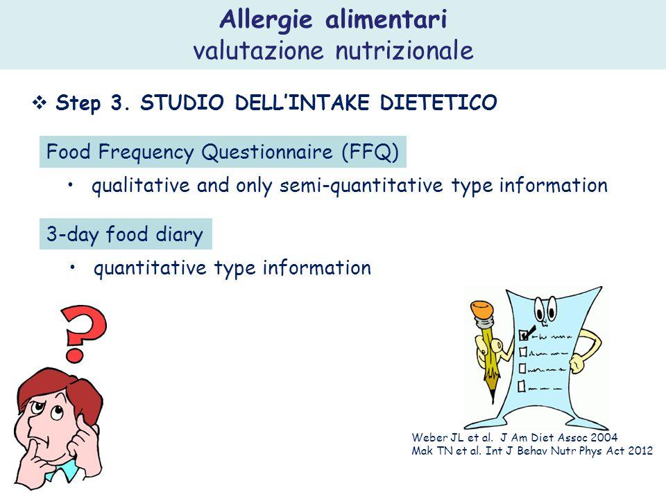 Allergie alimentari valutazione nutrizionale  Step 3. STUDIO DELL'INTAKE DIETETICO Food Frequency Questionnaire (FFQ) qualitative and only semi-quant