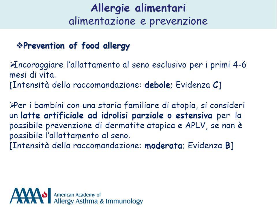  Prevention of food allergy  Incoraggiare l'allattamento al seno esclusivo per i primi 4-6 mesi di vita. [Intensità della raccomandazione: debole; E