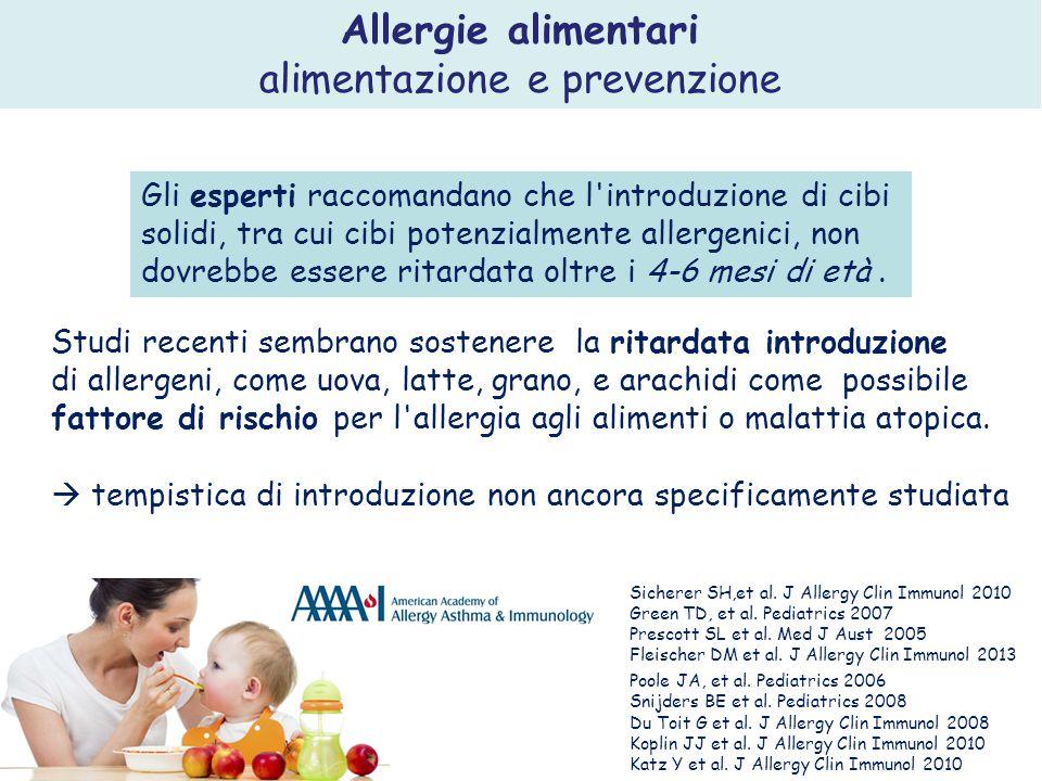 . Studi recenti sembrano sostenere la ritardata introduzione di allergeni, come uova, latte, grano, e arachidi come possibile fattore di rischio per l